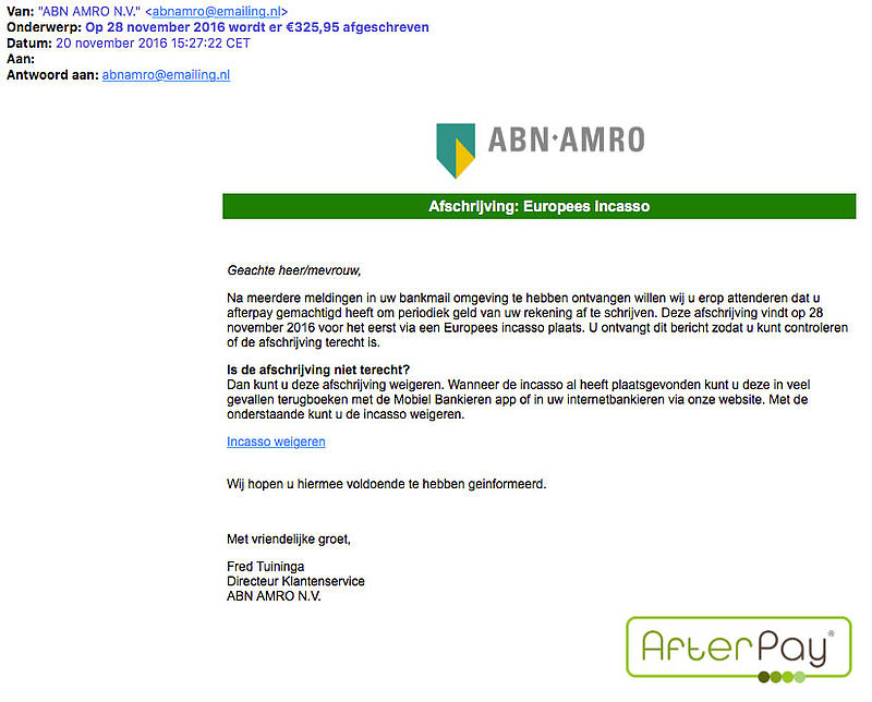 Phishingmail 'ABN AMRO' over Europees incasso