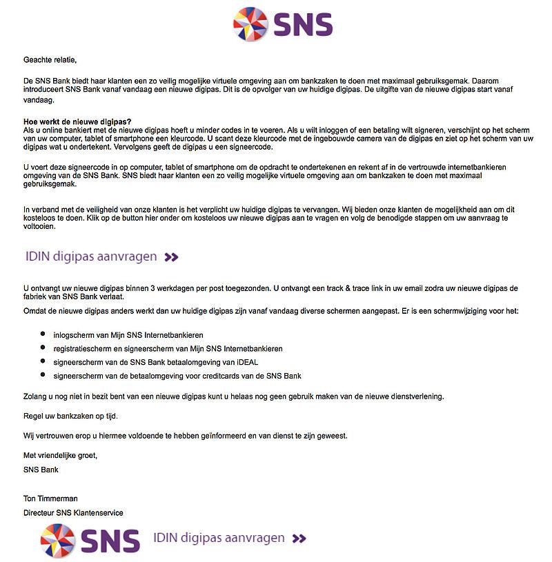 Oplichters versturen phishingmail over nieuwe SNS digipas