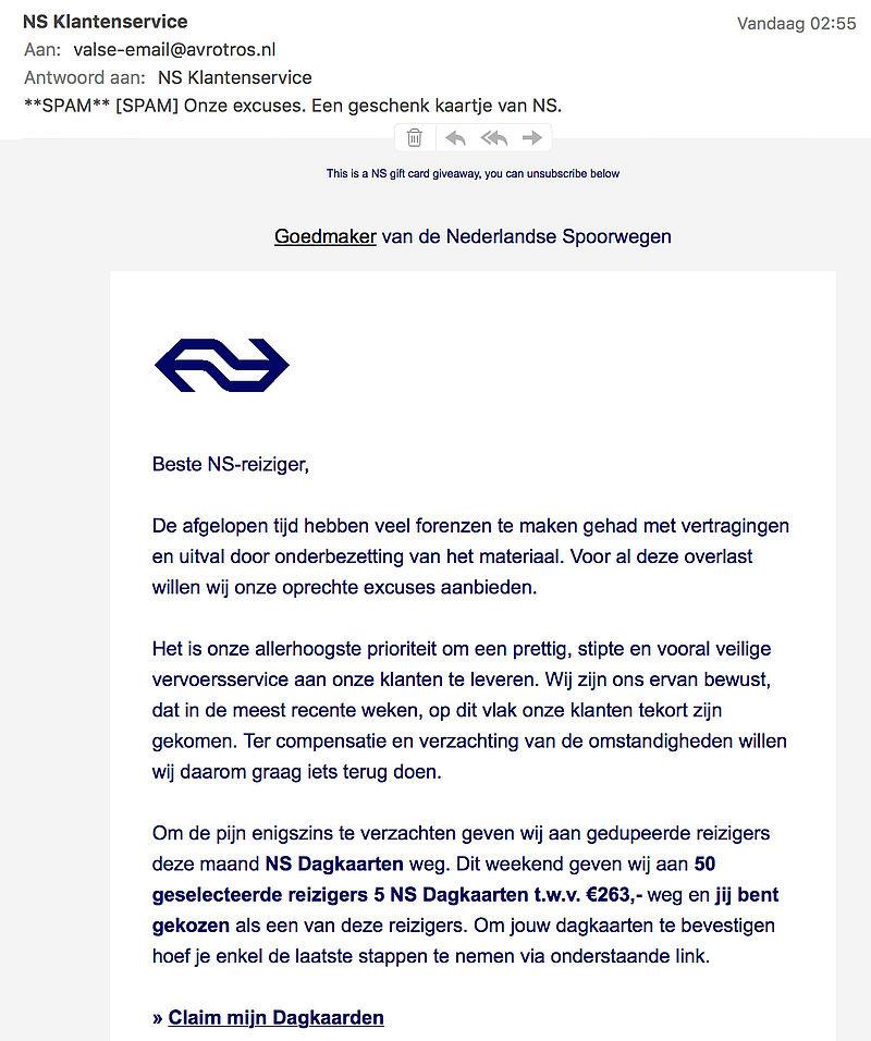 Valse e-mail 'NS': gratis dagkaarten als excuus voor vertraging
