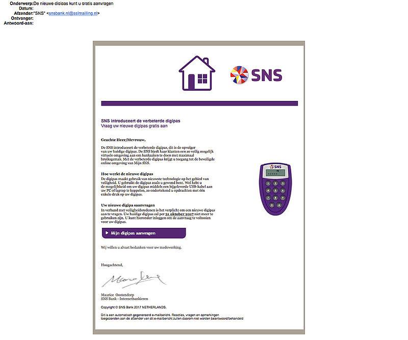 E-mail over deblokkade SNS-rekening is vals