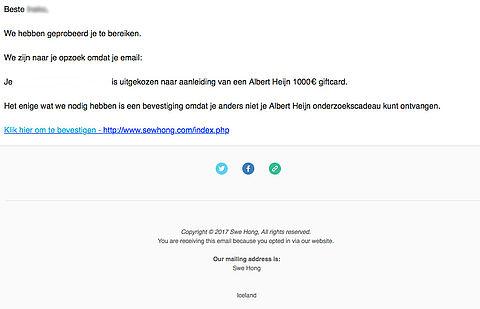 Albert Heijn giftcard van 1000 euro? Pas op voor kosten!