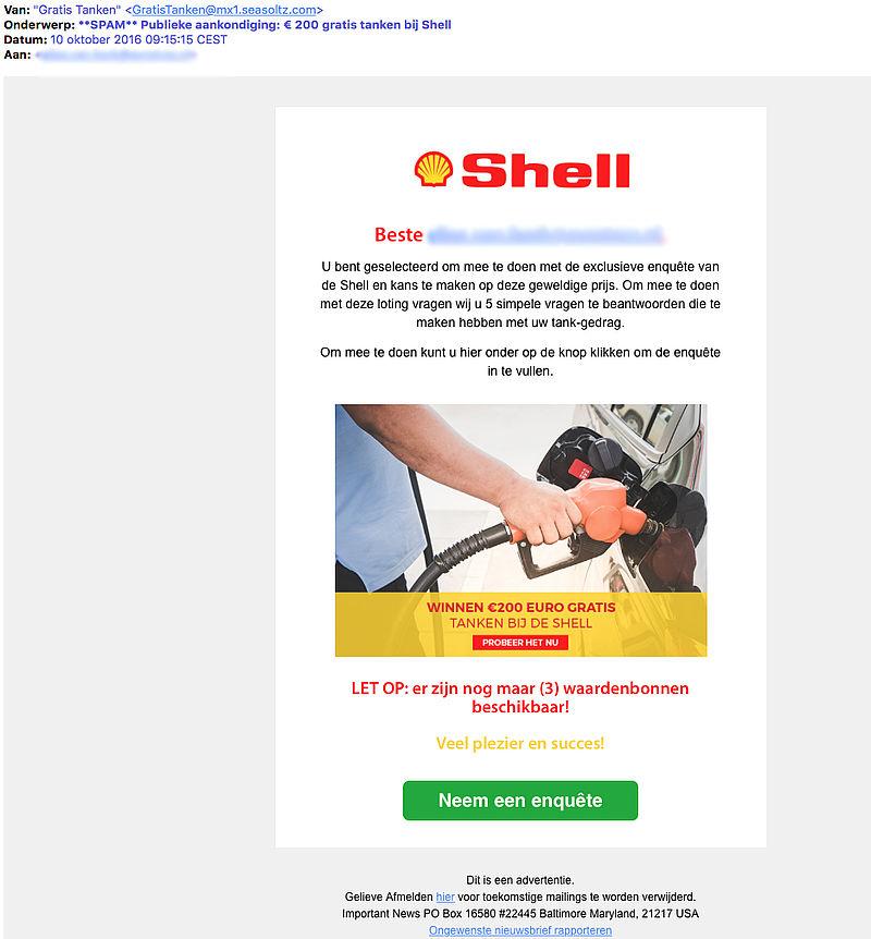 Pas op voor e-mail 'gratis tanken Shell'