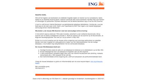 Mail van 'ING' over een nieuwe scanner? Gooi weg!