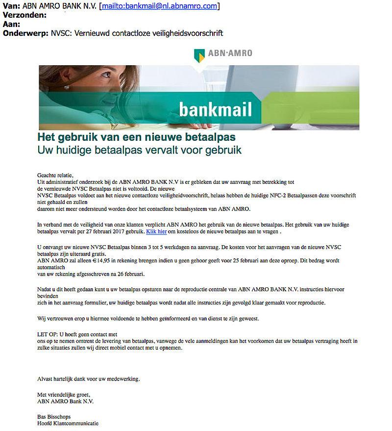Nog meer valse e-mails 'ABN AMRO' over bankpas