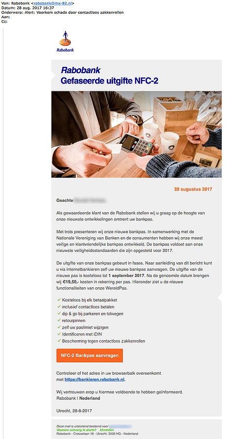 Pas op voor gepersonaliseerde nepmail 'Rabobank' over nieuwe pas