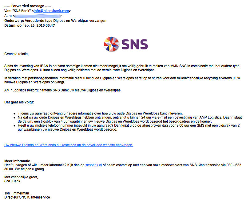 Trap niet in phishingmail 'SNS'