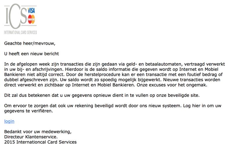Valse mail ICS: 'u heeft een nieuw bericht'