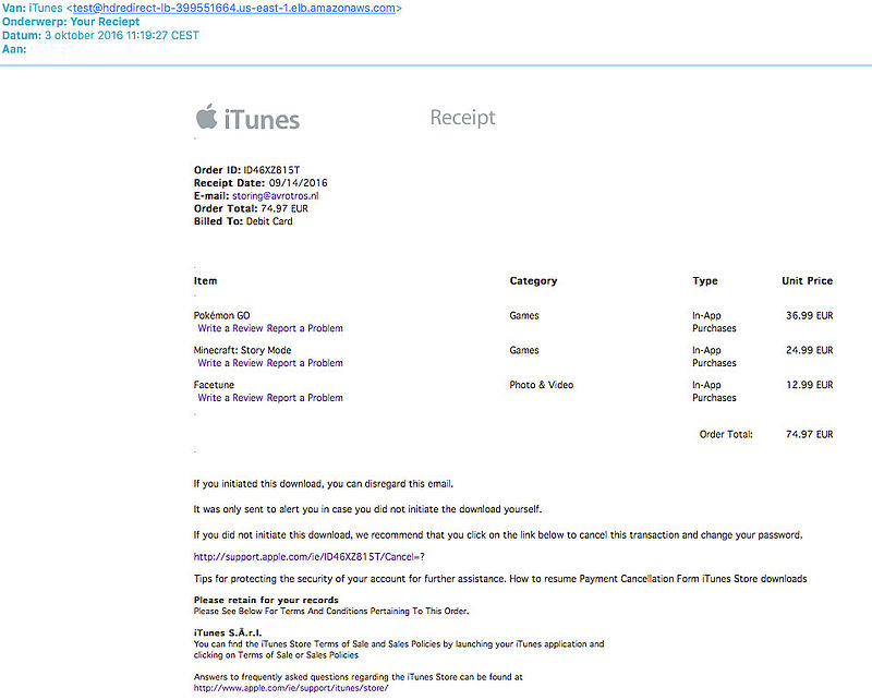Phishingmail 'Apple' vraagt om creditcardgegevens