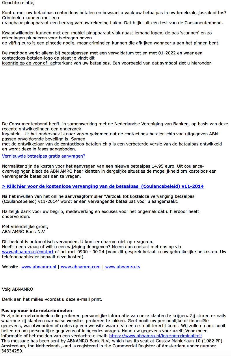 Pas op voor valse e-mail 'ABN AMRO' over contactloos betalen