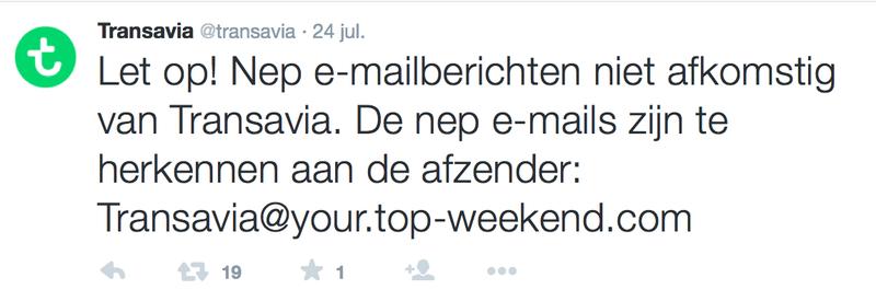 Transavia waarschuwt voor valse mails