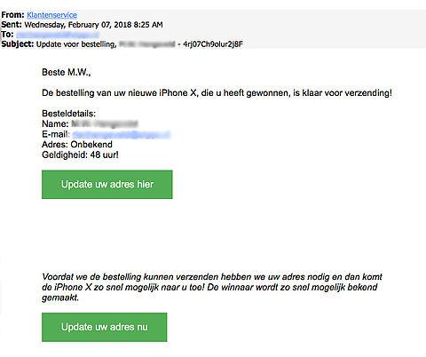 Nepmail over gewonnen iPhone X