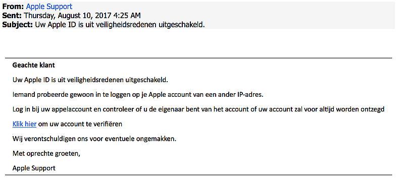 Phishing: 'Uw Apple ID is uit veiligheidsredenen uitgeschakeld'