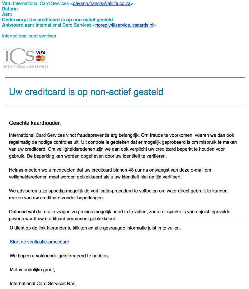 Valse e-mail 'ICS' duikt weer op