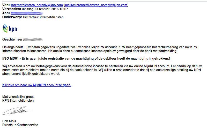 Nepmail 'KPN': Uw factuur internetdiensten