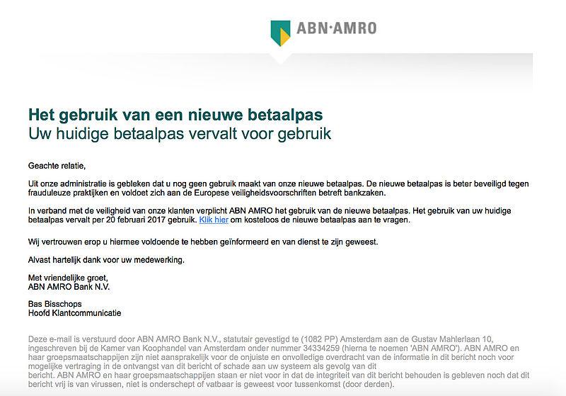 Pas op voor phishingmail 'ABN AMRO' over nieuwe betaalpas