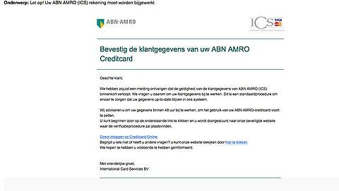 Let op! Valse mail van ICS over ABN AMRO creditcard in omloop