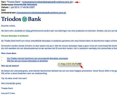 Valse mail 'Triodos Bank' in omloop!