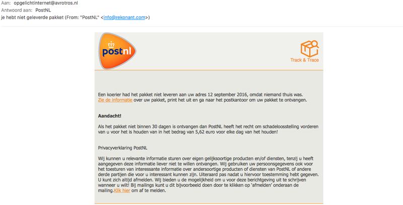 Opgelicht?! ontvangt malware e-mail 'PostNL'