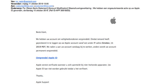 Veel valse mail van 'Apple' in omloop