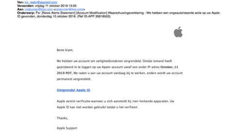 Veel valse mail van 'Apple' in omloop