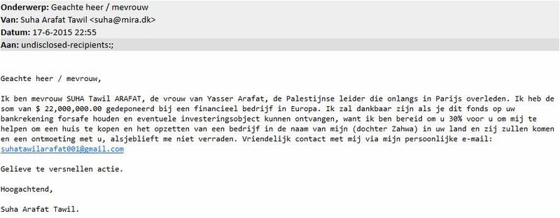 Vrouw van 'Arafat' stuurt valse mail