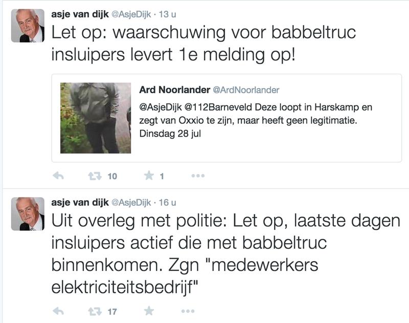 Burgemeester Barneveld waarschuwt voor babbeltrucs