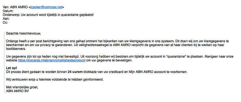 Namen ABN AMRO en ICS misbruikt in phishingmail