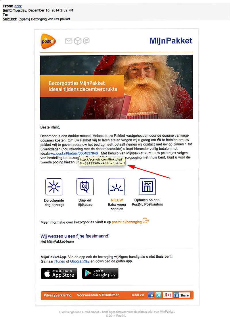 Valse e-mail Post NL: 'bezorging van uw pakket'