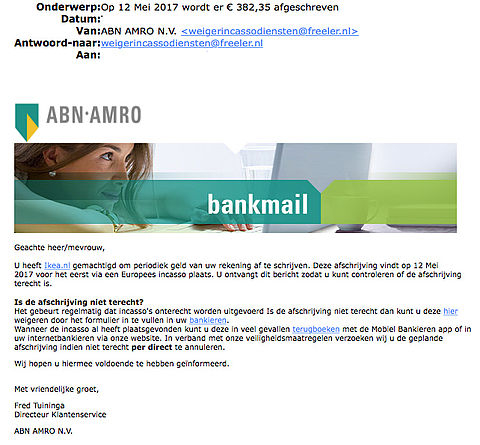 E-mail 'ABN AMRO' over afschrijving IKEA is vals