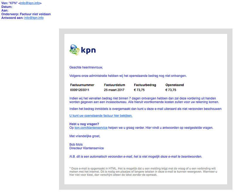 'KPN' verstuurt opnieuw nepmail over factuur