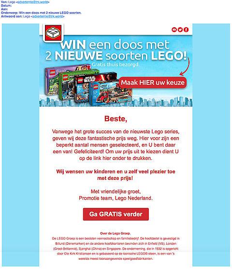 Pas op voor misleidende winactie 'LEGO'