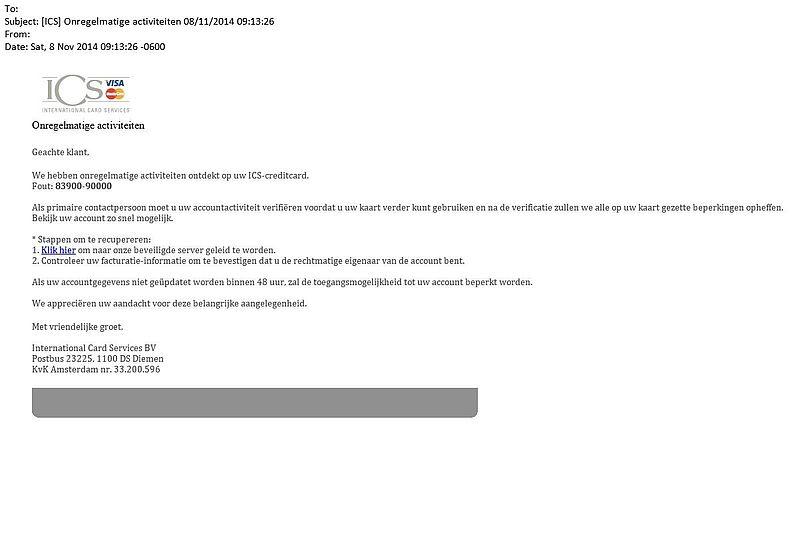 Valse e-mail ICS: 'onregelmatige activiteiten'