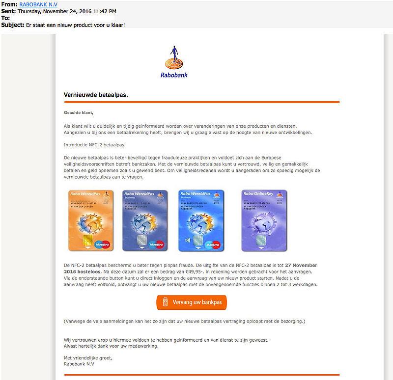 Criminelen sturen phishingmail 'Rabobank'