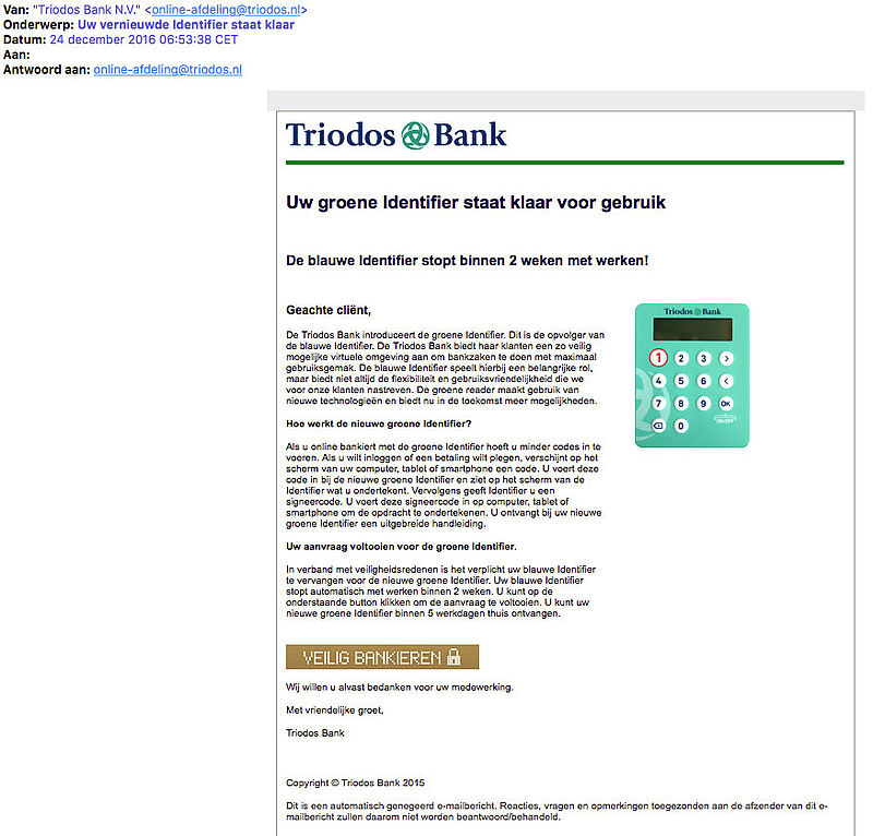 Valse e-mail 'Triodos Bank' over groene Identifier