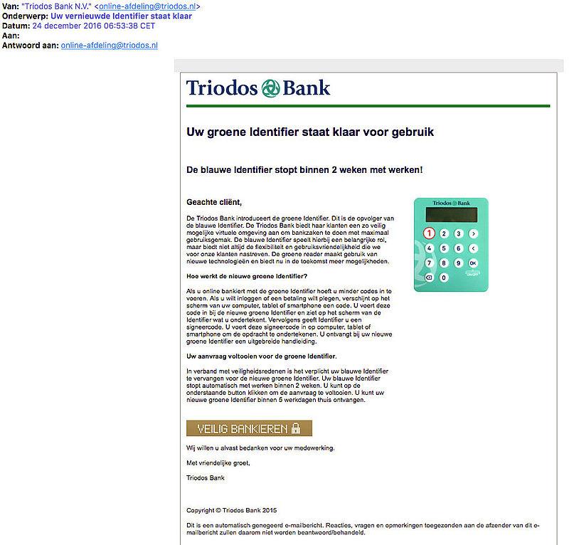 Pas op voor phishingmail 'Triodos Bank'
