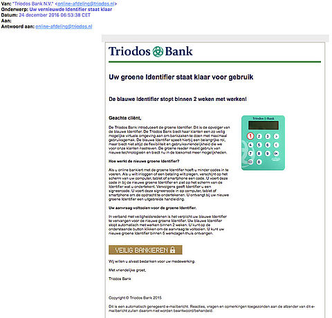 Valse e-mail 'Triodos Bank' over groene Identifier