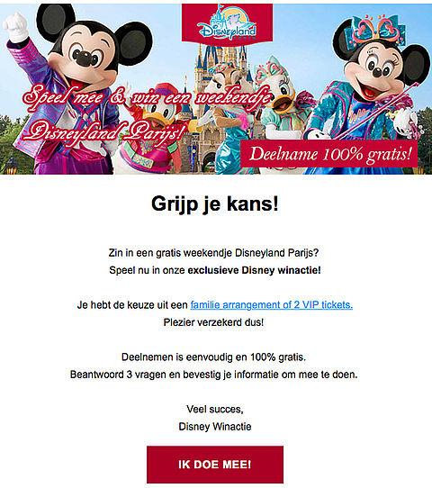 Pas op voor valse winactie 'Disneyland Parijs'