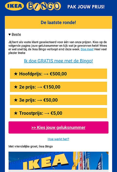Pas op voor 'vage' winactie uit naam van IKEA