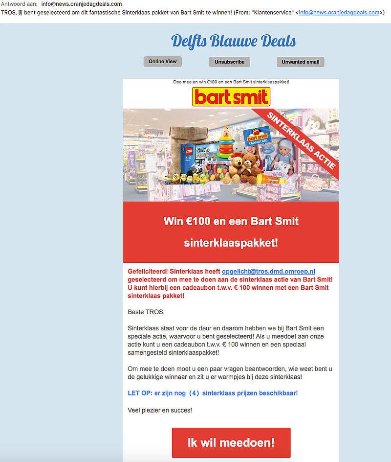 Pas op: winactie 'Bart Smit' misleidend