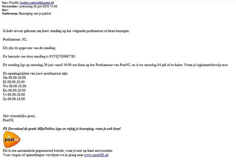 Valse mail van PostNL in omloop!