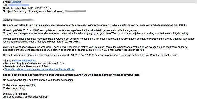 Opnieuw valse mail uit naam van 'Windows'