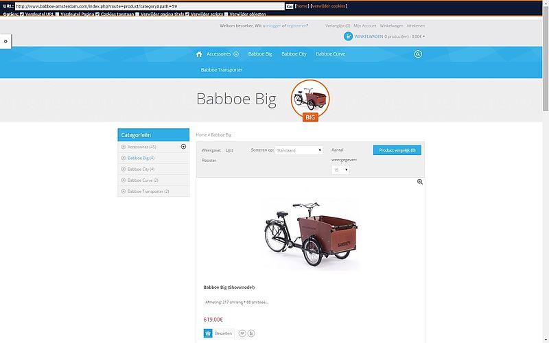 'Webshop www.babboe-amsterdam.com misbruikt gegevens Babboe'