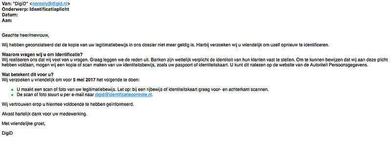 Gevaarlijke e-mail verstuurd door 'DigiD' over identificatieplicht