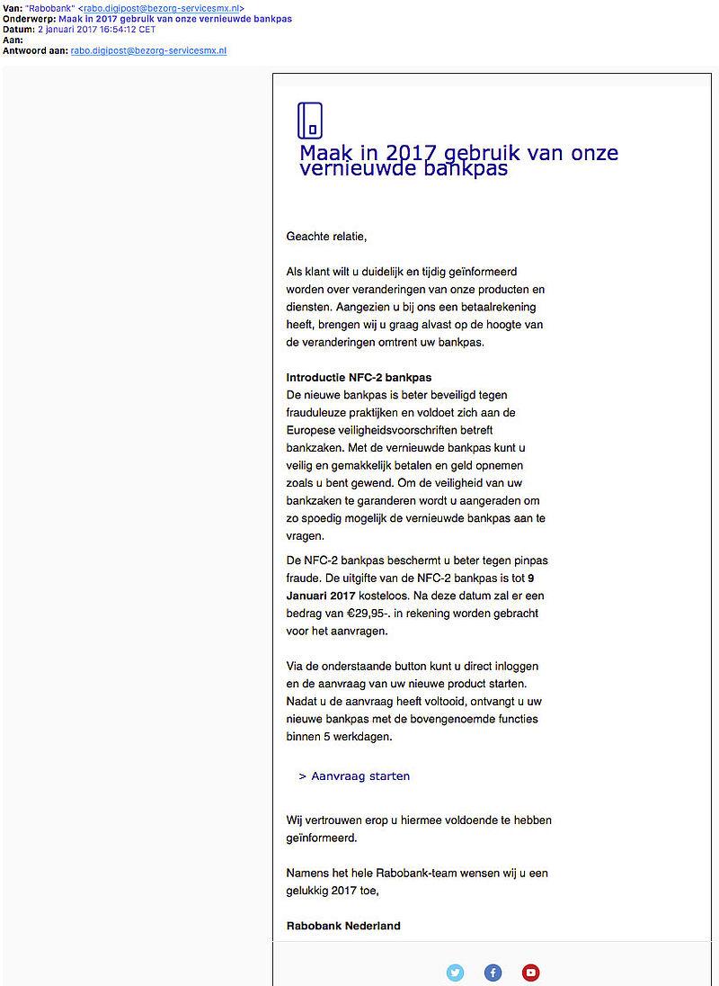 Fraudeurs sturen opnieuw phishingmail 'Rabobank'