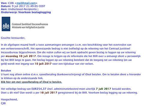 Valse e-mail CJIB: voorkom beslaglegging