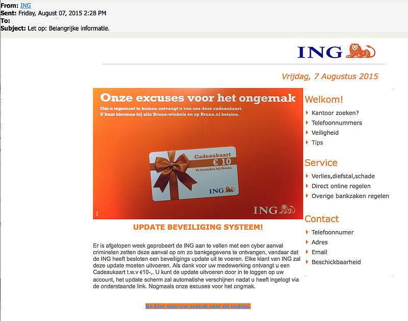 Valse mail ING: 'cadeaukaart als dank'