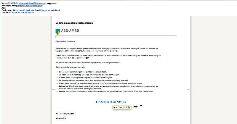 Pas op voor valse emails van ABN!