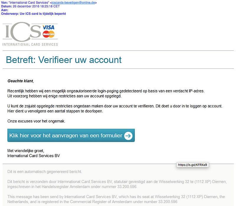 Criminelen sturen opnieuw phishingmail 'ICS'