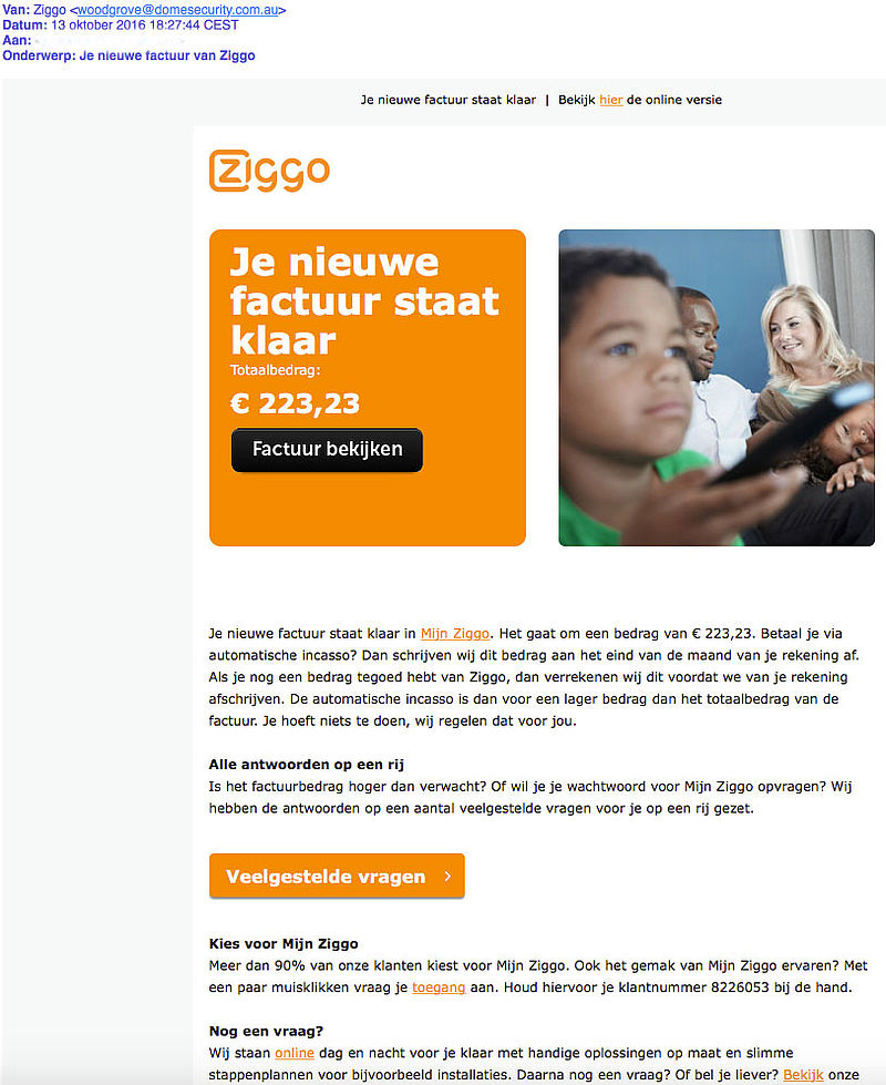 Opnieuw waarschuwing malwaremail 'Ziggo'