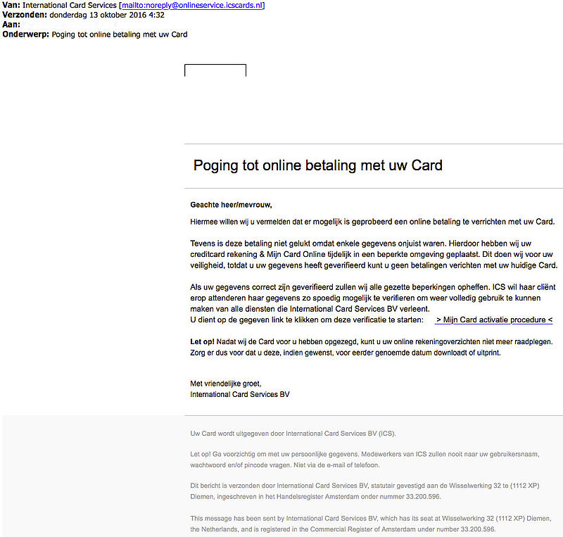 Phishingmail geblokkeerde ICS-card